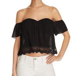Black off the shoulder lace top- Cotton Candy LA